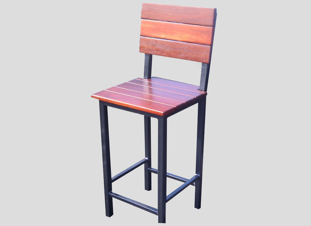 bar stool steel timber backrest