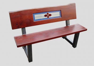 Bench with flower and border glass leadlight panel