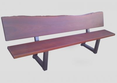 Bench seat with natural edge and welded steel legs
