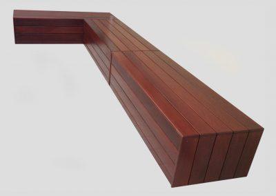 Corner Storage Bench custom built to suit outdoor area