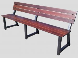 Park bench with jarrah slats