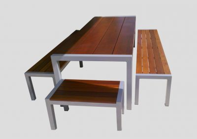 Emma Table 5 pce Setting with light powdercoated frame and 40mm thick jarrah tops