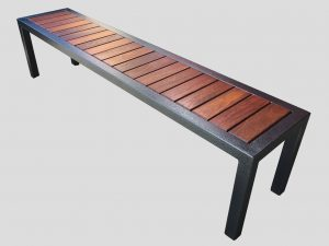 Outdoor seat with jarrah recessed into top