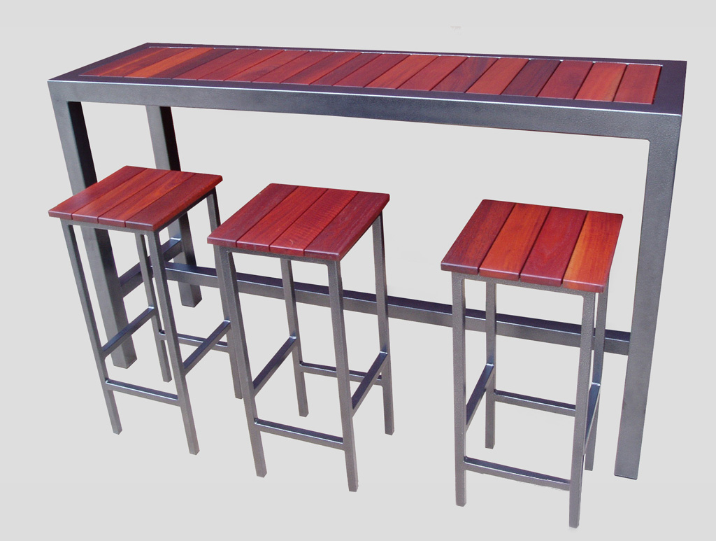 bar outdoor steel and timber