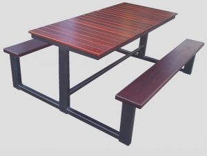 outdoor table timber steel