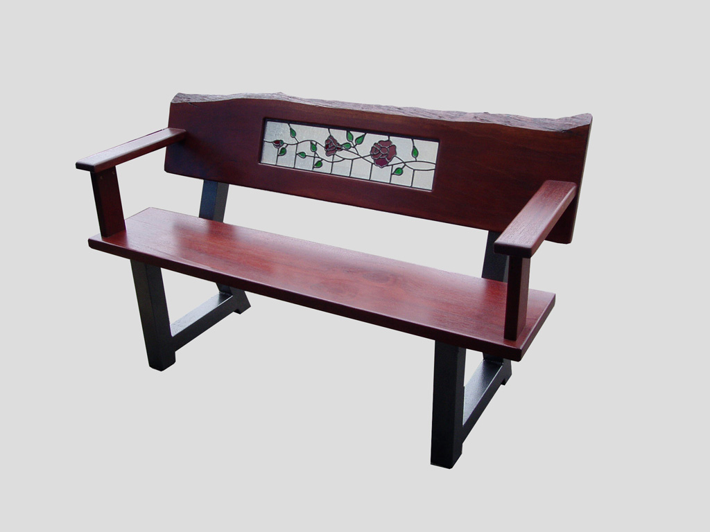 Bench Seat Roses Glass Panel