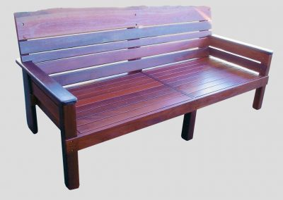 Day Bed all jarrah with 2 armrests and natural edge backrest