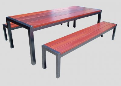 Emma Table 3 pce Setting with powdercoated frame with 40mm thick jarrah tops