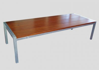 Emma Table 2.4m with galvanised frame and 40mm thick jarrah boards