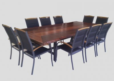 Large natural edge table, shown with client's own chairs.