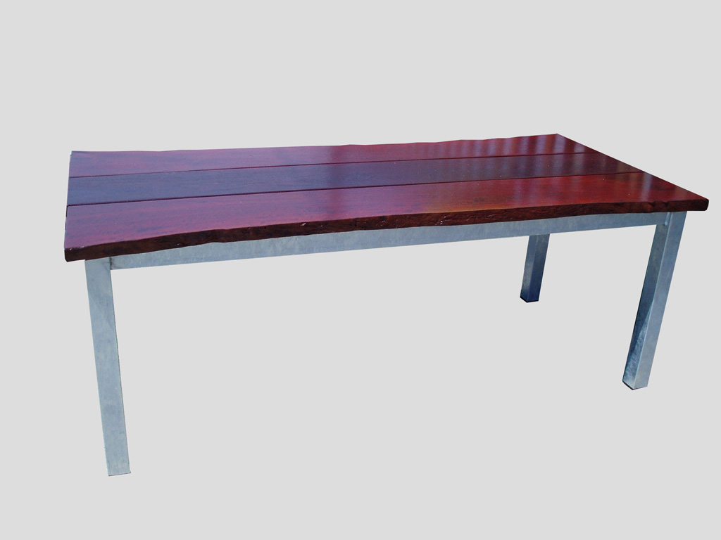 Natural Edge Jarrah Table on galv steel frame