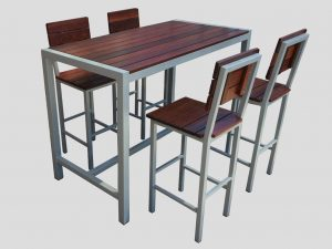dry bar high table grey and jarrah