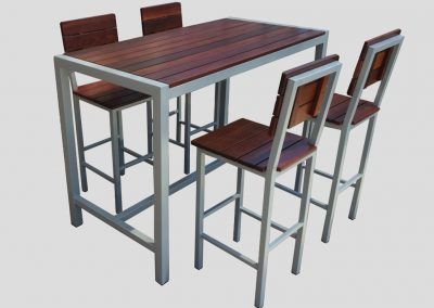 Emma Bar & Stools with light powdercoat and 20mm jarrah tops