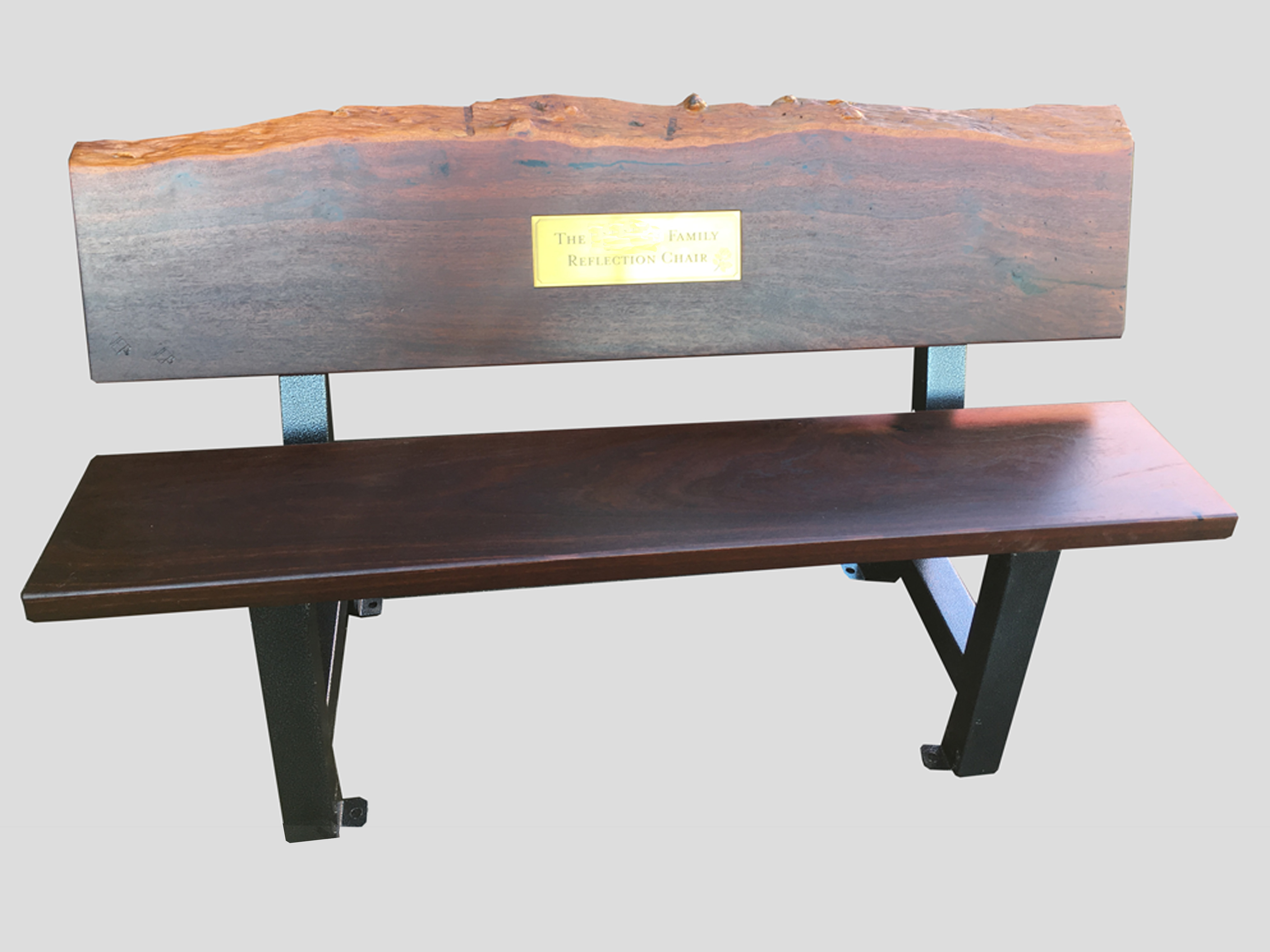 bench seat outdoor natural edge backrest