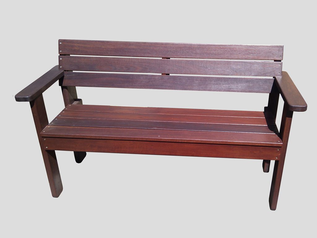 All Jarrah Bench Seat with Armrests