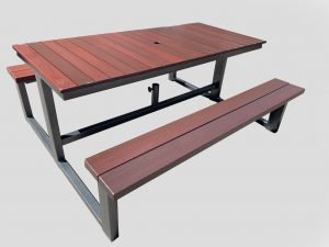outdoor table steel frame picnic bench